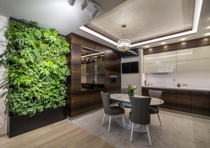 Зеленая стена в квартире: нюансы оформления