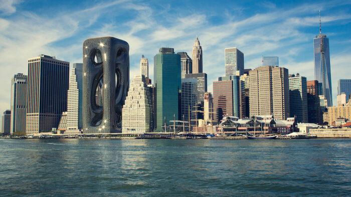 Концепт для Нью-Йорка: поперечно-полосатый небоскреб
